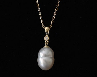 South Sea Pearl and Diamond 14K Yellow Gold Pendant Necklace