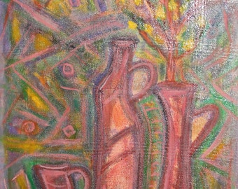 Vintage expressionist still life oil painting signed