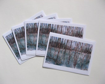 Pack of 5 'Green Paradise' greeting cards, fine art, landscape, Yorkshire, forest, woodlands, trees, birch trees, collage, pastel, charcoal
