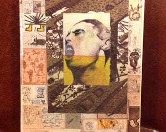 """Original notebook. Analog collage """"Hammering the world"""". Hand cut collage notebook"""
