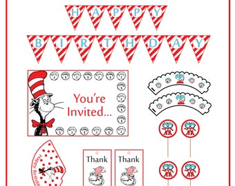 Cat in the hat party printable - Printable party set - birthday supplies - Printable party supplies - Cat in the hat - baby shower party set
