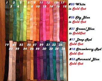 Newborn and up 3-6, 6-12, 12+ months baby girl headbands. 36 colors to choose from solid plain shiney elastic