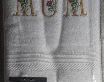 Embroidered Mum bath towel