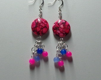 Dangle earrings made with Red Taiwan Turquoise 20mm lentil stone bead and pink and blue glass beads