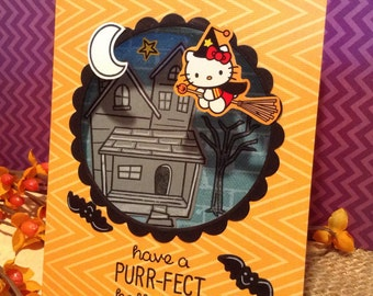 Hello Kitty Halloween Card, Cute and Non-Scary, Kid Friendly