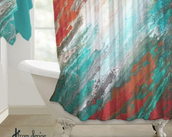 coral and blue shower curtain. Abstract Shower curtain  Teal aqua coral gray Home decor Designer bath Beautiful Coral shower Etsy