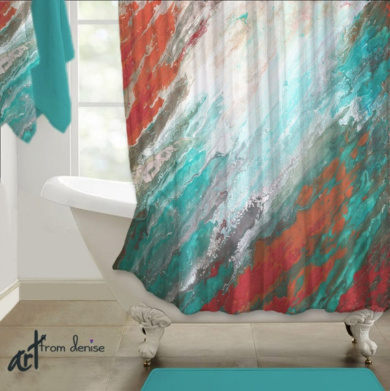 Coral And Blue Shower Curtain Teal and Gray Curtains
