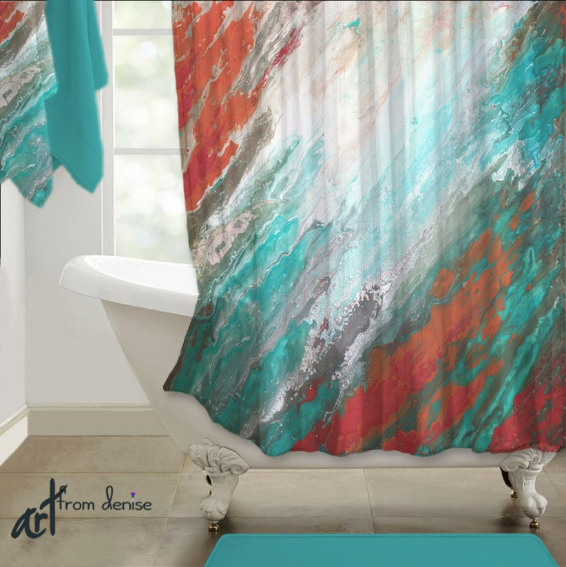 Abstract shower curtain teal aqua coral gray home decor for Aqua and coral bathroom
