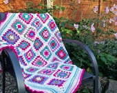 OOAK Handmade Square Crochet Blanket, Throw, Afghan - Child or Baby - Anemone Pinks, Meadow Green and Turquoise Blue - Approx 92cm Square