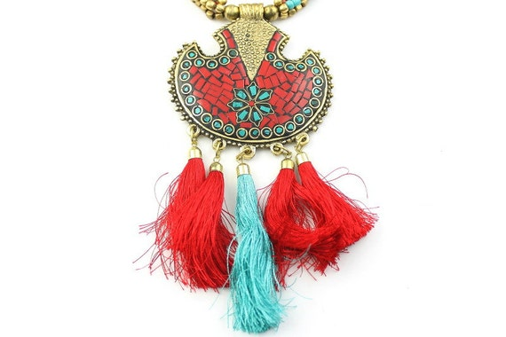 Red Hex Necklace, Statement Necklace, Festival Jewelry, Tribal, Ethnic Necklace, Tassel Jewelry, BOHO,