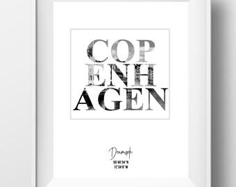 Copenhagen, copenhagen print, copenhagen poster, copenhagen art, copenhagen denmark, city Coordinates, copenhagen gift, denmark print