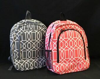Quilted Vine Coral, Pink, and Grey Backpack, Monogrammed Backpack, Monogrammed Bookbag, Personalized Backpack, Personalized Bookbag