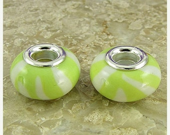 40% CLEARANCE 2 sterling silver lampwork glass beads fit 0224 14544