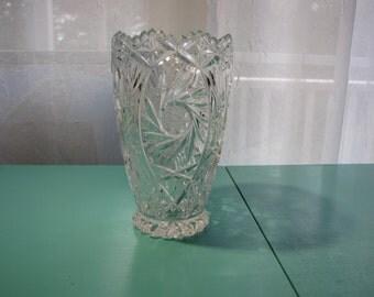 Vintage Crystal Vase With Etched Design