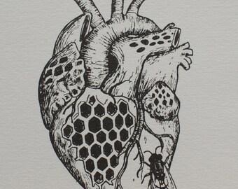 Heart - original letterpress print