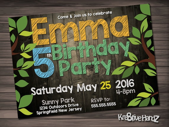 Outdoors birthday invitation - personalized printable invite for any age boys or girls birthday party - includes free thank you card