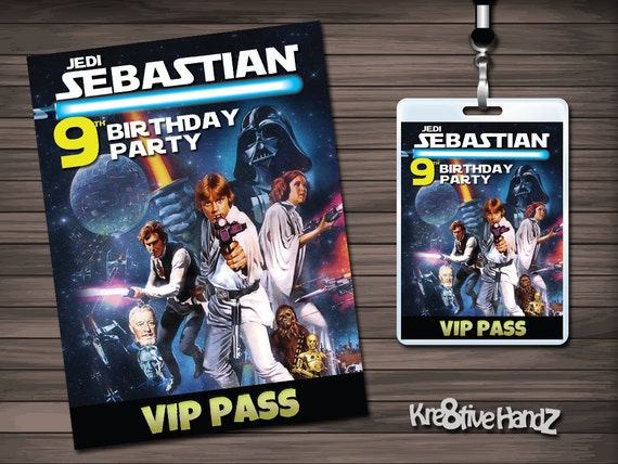 Star Wars VIP Pass Badges Personalized for Birthdays or any Celebration - any age