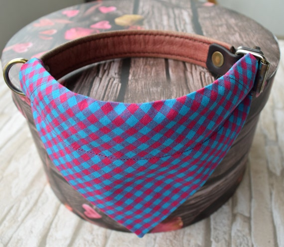 """Bandana """"Pink Blue Chequered"""" Bandanas for small or medium sized dogs cats"""