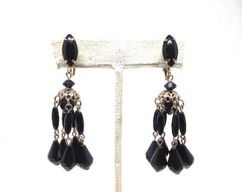 Intriguing Black Crystal Dangle Gold Tone Vintage Estate Earrings