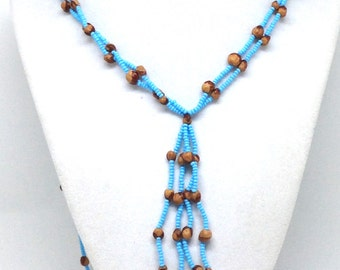 Vintage Estate Bohemian Baby Blue and Wood Beaded Necklace