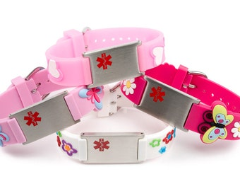 Medical alert allergy bracelets for girls