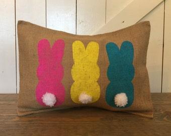 Bunny pillow, Spring pillow, Easter pillow, Burlap pillow, Spring decor