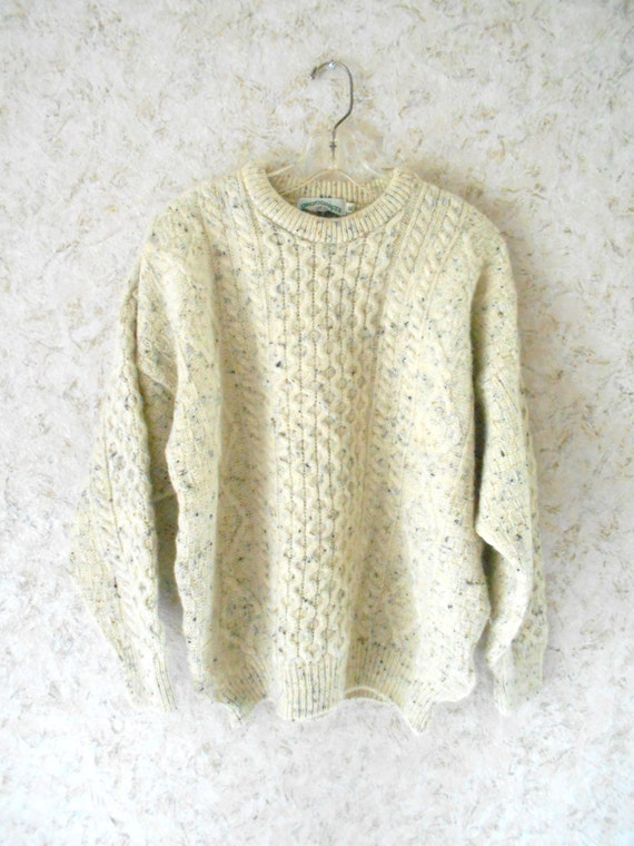 Vintage irish wool fisherman sweater aran crafts heavyweight for Aran crafts fisherman sweater