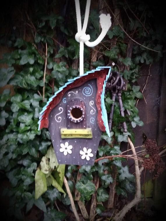 Whimsical blue hanging birdhouse/handmade /Garden art /bird