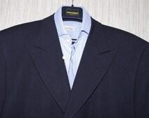 Vintage VALENTINO UOMO  Italy Black Wool Blend 3 Button Vents  Men  Blazer Cport Coat Size:44R