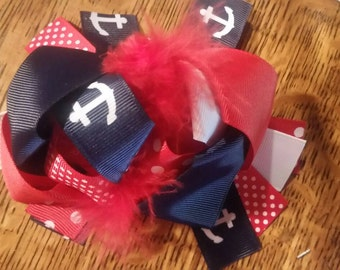 4th of july hair clip with anchors
