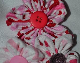 pink white red hearts headband