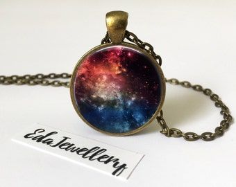 Colourful Space Pendant, Universe, Galaxy, Solar System Jewelry, Necklace