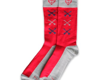 Men's Red Socks with Arrows