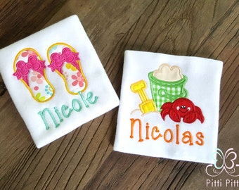 Personalized baby Girl / Boy  Summer Appliqued Short sleeve Bodysuit/ Shirt or Bib   - Summer Embroidered & Appliqued   - Beach Bodysuit