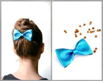 Metallic blue leather hair bow / Blue bow clip / Hair accessories for children / Metallic blue leather