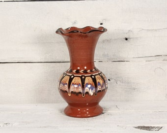 Vintage Art Pottery Vase / Handmade Troyan Ceramic Bulgaria /  Vintage Vase /  Old vase /  Home decor