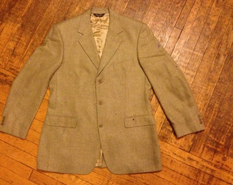 Brooks Brothers Men's Sports Jacket, Blazer. Perfect condition. Brown, green, taupe herringbone pattern coat. Size 43L. Gifts for Him.