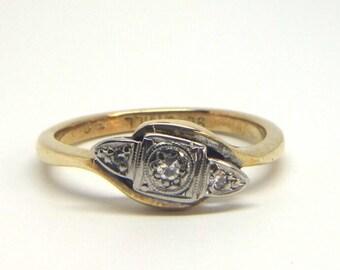 Diamond 3 Stone Twist Ring   Size O (UK) 7 1/4 (US) Free Sizing & Shipping
