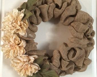 Natural Burlap Wreath with Cream Dahlia Flowers