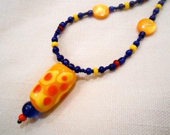 handmade glass bead beaded necklace