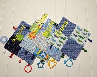 Baby Boy Crinkle Taggie. Sensory Toy. Blue Arrows, Argyle and Crocs