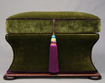 SOLD Victorian Large Concaved Ottoman / Seat