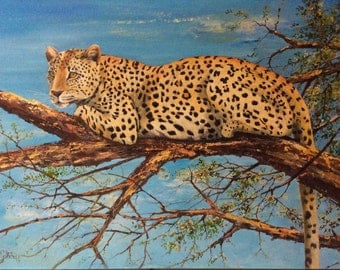 Leopard in a tree in oil painting