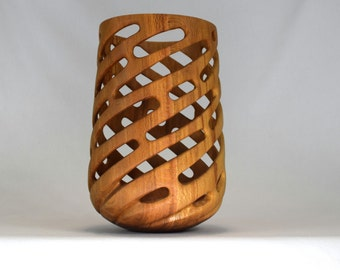 One-of-a-kind, abstract, turned and carved sycamore vessel