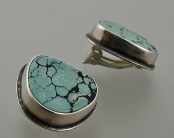 turquoise clip on earings, silver