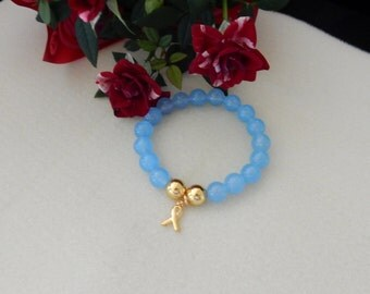 Handmade Baby Blue Chalcedony and Gold Prostate Cancer Awareness Bracelet