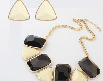 New Alloy Resin Black&White Chain Statement Necklace And Earrings Sets Fashion Women Jewelry Sets Accessories