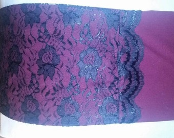 Burgundy and black lace infinity scarf
