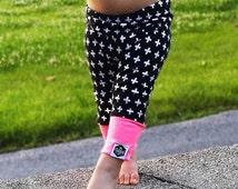 Baby Leggings, Toddler Leggings - Black & White Swiss Cross