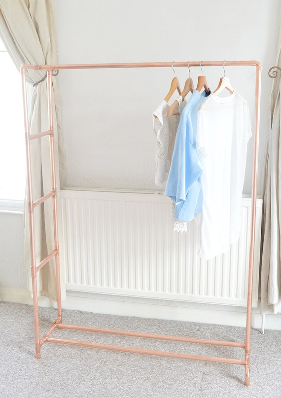 Copper pipe clothing rail garment rack by littledeeretsy for Clothes rail on wheels ikea